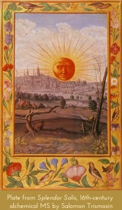 Plate from 16th-century alchemical MS by Salomon Trismosin showing the sun in splendour