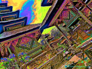 Visionary psychedelic image of temple pagodas in Ubud, Bali, Indonesia