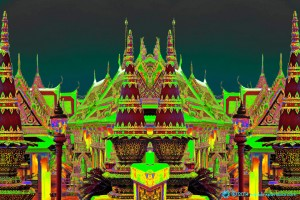 Visionary mysterious vibrantly coloured mirror-symmetry image based on Wat Phra Kaew in Bangkok