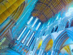 Visionary interior of Hexham Abbey in blue, Northumbria, UK