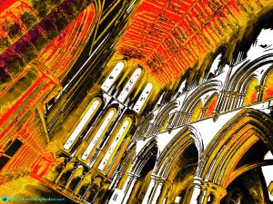 Visionary interior of Hexham Abbey in orange and gold, Northumbria, UK